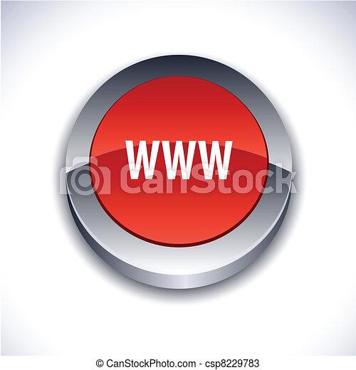 WWW 3d button. - csp8229783