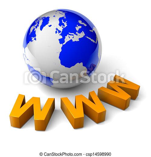 WWWW mundo 3D concepto de ilustración de Internet - csp14598990