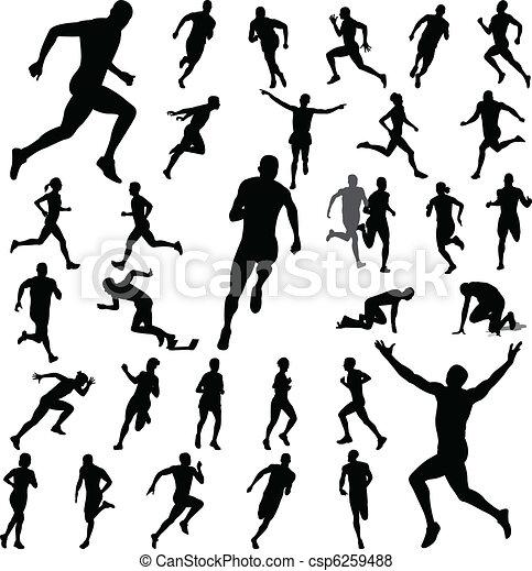 wyścigi, sylwetka, ludzie - csp6259488
