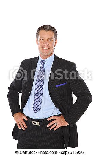 wykonawca, odizolowany, radosny, businessman., garnitur, portret, senior - csp7518936