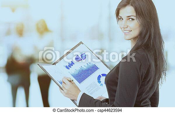 wykresy, kobieta, wykresy, handlowy - csp44623594
