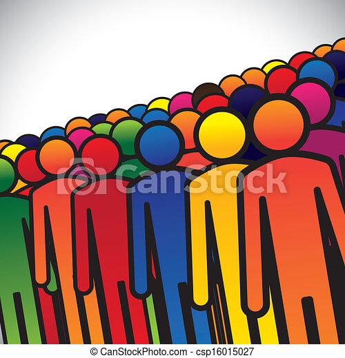 wyobrażenia, graficzny, pojęcie, grupa, studenci, barwny, ludzie, formując, abstrakcyjny, ikony, -, pracownicy, albo, przedszkole, również, kolor, dzieciaki, różny, vector., pracownicy, dzieci - csp16015027