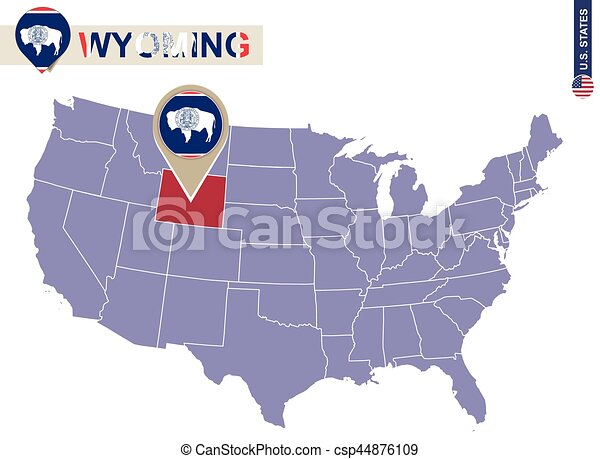 Wyoming State on USA Map. Wyoming flag and map.