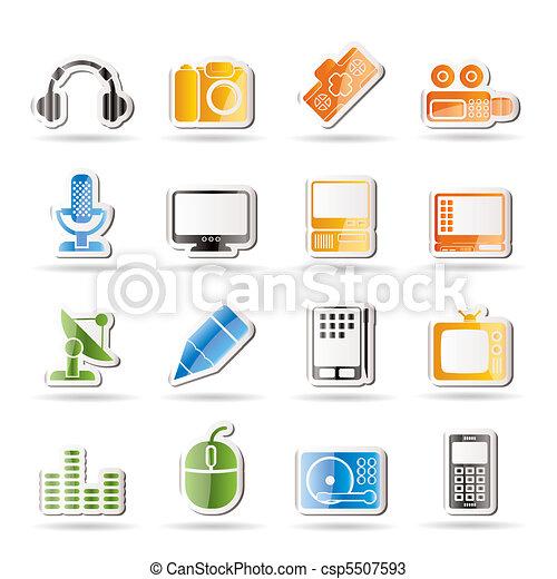 wyposażenie, media, ikony - csp5507593