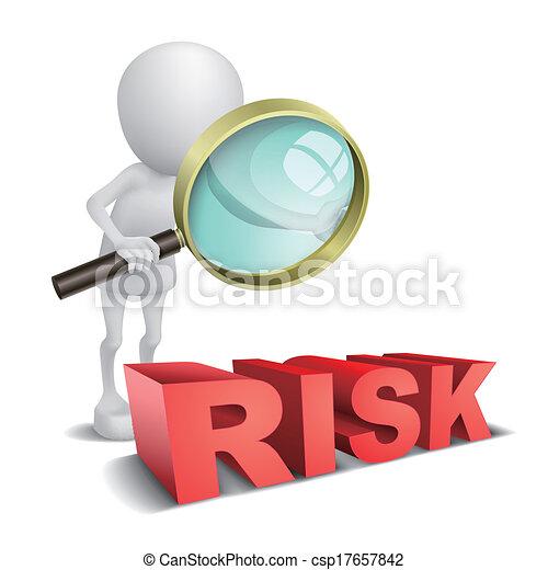 """wypowiedzieć szkło, """"risk"""", oglądając, osoba, powiększający, 3d - csp17657842"""