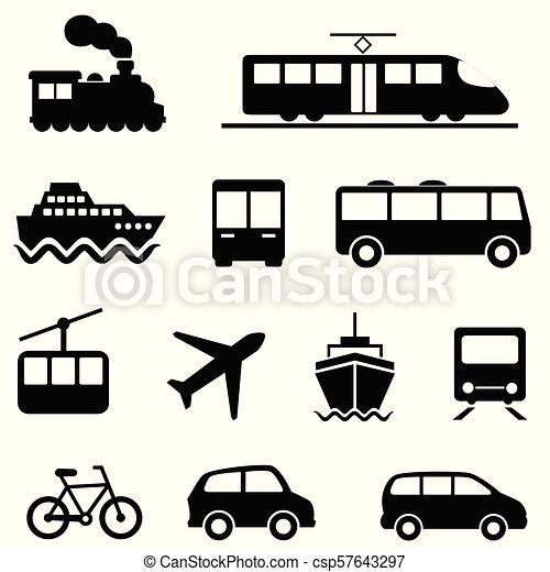 wysadźcie przewóz, ikony, powietrze, morze, publiczność - csp57643297