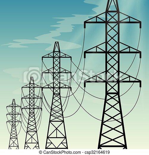 wysoki dostarczą energii elektrycznej, kwestia, na górze, napięcie elektryczne - csp32164619