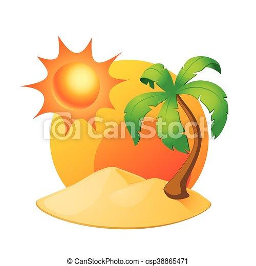 wyspa, drzewo, odizolowany, dłoń, słońce, biały - csp38865471