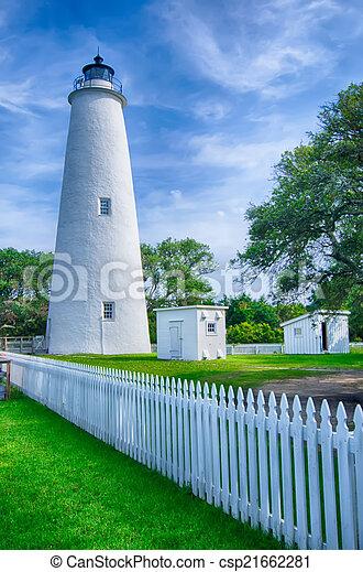 wyspa, latarnia morska, keeper's, mieszkanie, ocracoke - csp21662281