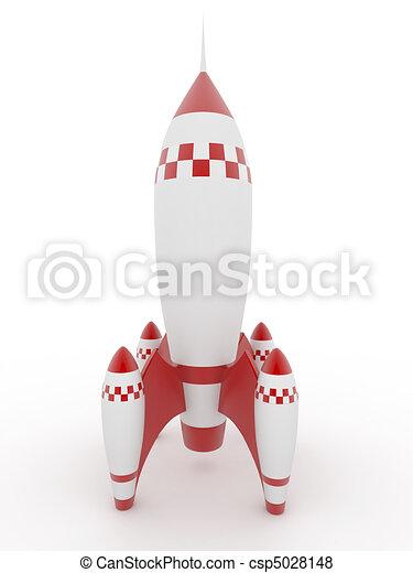 wzór, białe tło, odizolowany, rakieta - csp5028148