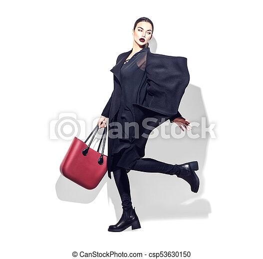 wzór, kobieta, obuwie, modny, odzież, biały okrywają, czarnoskóry, tło., długość, pełny, przedstawianie, torba, modny, portret, dziewczyna, studio., przypadkowy, styl - csp53630150