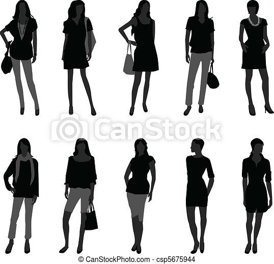 wzór, kobieta shopping, fason, samica - csp5675944
