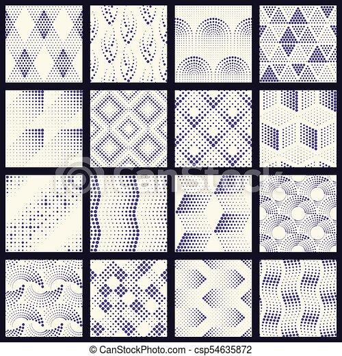 wzory, komplet, kropkowany, halftone - csp54635872