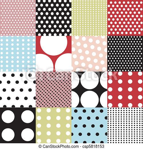 wzory, komplet, polka, seamless, kropka - csp5818153