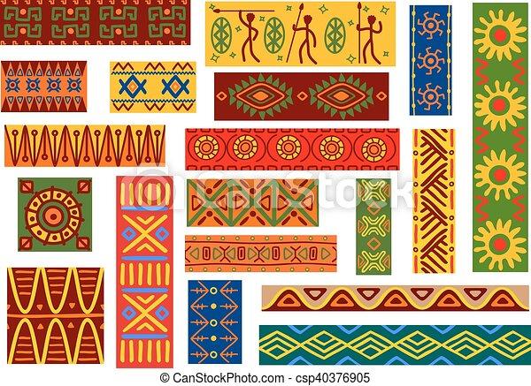 wzory, krajowy, etniczny, upiększenia, afrykanin - csp40376905