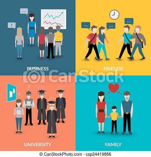 wzory, ludzie, zachowanie, towarzyski - csp24419886