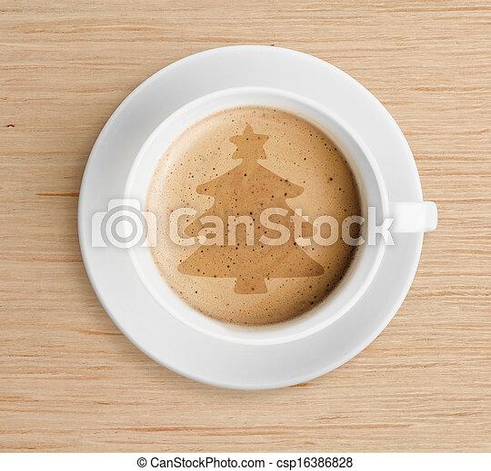 xícara café, espuma, árvore, forma, natal - csp16386828