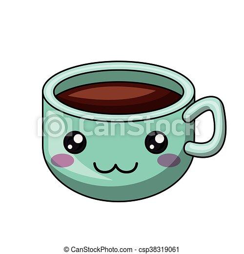 xícara café personagem isolado desenho ícone café gráfico