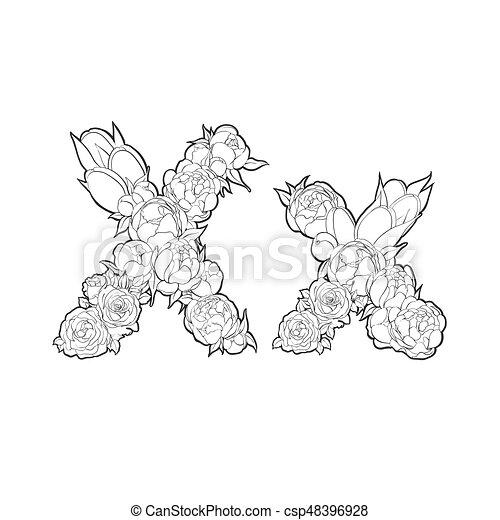 x, bloemen, brief, gemaakt - csp48396928