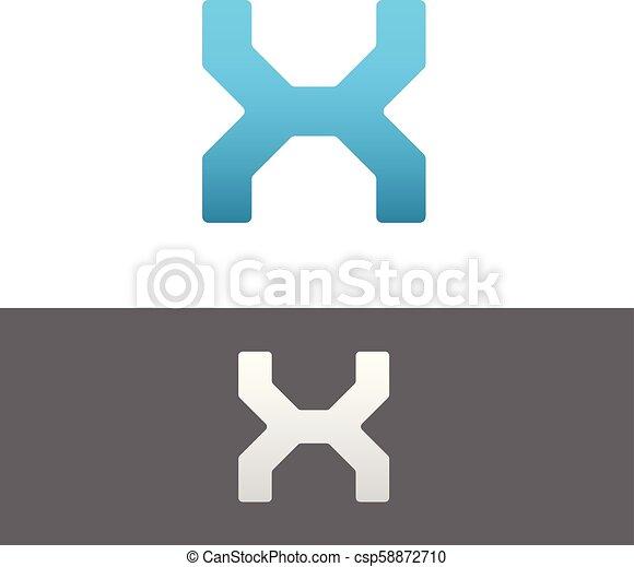 X Letter Alphabet Abstract vector text logo - csp58872710