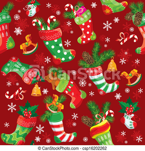 X-mas and New Year background with Christmas stockings. Seamless pattern for holiday design. - csp16202262