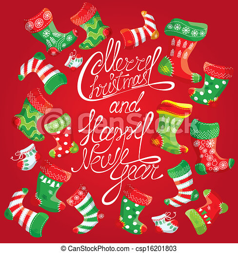 X-mas and New Year card with family Christmas stockings - csp16201803