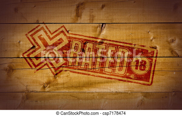x rated impression on wooden background drawing - search clip art