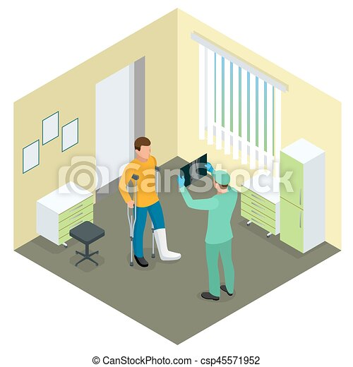 X-rays of leg fracture patients concept. Medical doctor is talking to patient with broken leg and showing him X-ray picture in hospital room. Isometric vector illustration - csp45571952