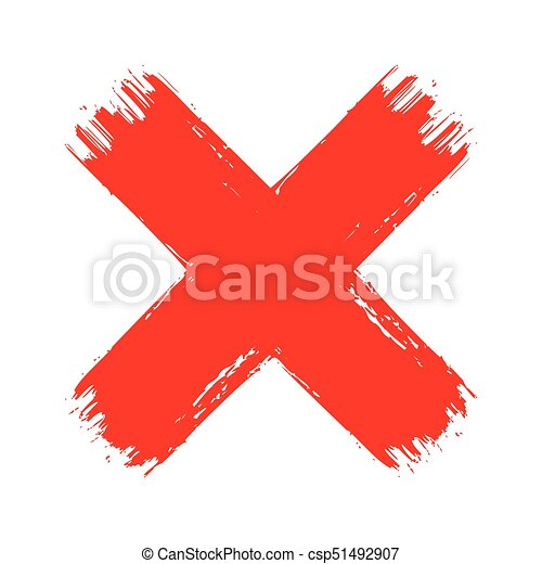 X Red Cross Brush Paint Stroke Hand Drawn Blood Vector Texture No