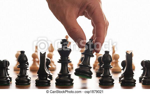 xadrez, mão, tábua - csp1879021