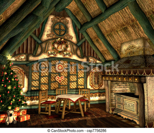 Xmas Cottage In A Small Hut On Christmas Eve
