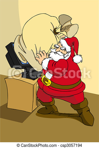 Xmas e-commerce series: Santa Claus trying to use modern internet technology to send the gifts.  - csp3057194