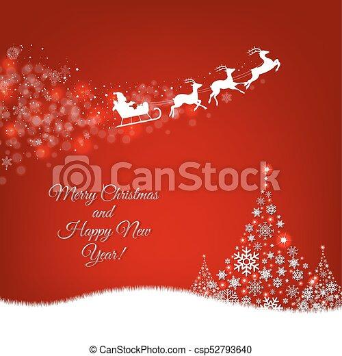 Xmas Postcard Fir Tree Border And Santa Claus - csp52793640