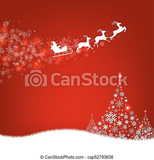 Xmas Postcard Fir Tree Border And Santa Claus - csp52793636