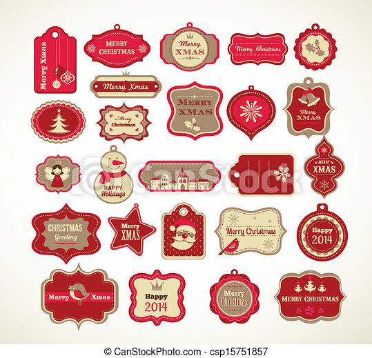 xmas set labels tags and decorative elements christmas set