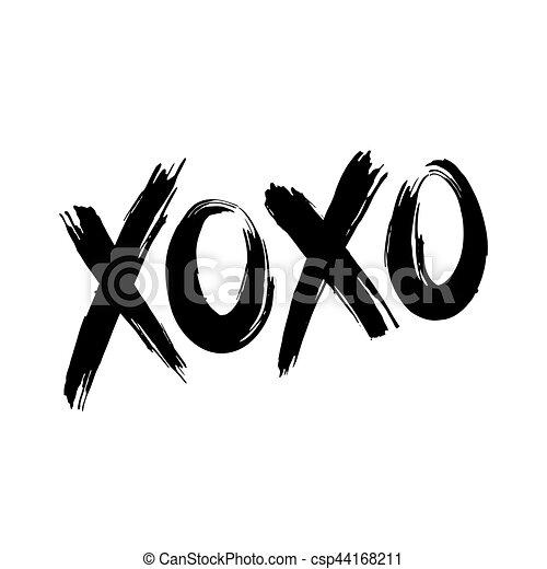 xoxo hugs and kisses phrase xoxo hugs and kisses black brush