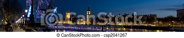 XXL - Houses of Parliament and London Eye at Twilight. - csp2041267