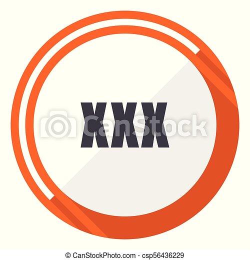 XXX flat design vector web icon. Round orange internet button isolated on white background. - csp56436229