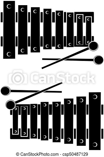 Xylophone silhouette on white background