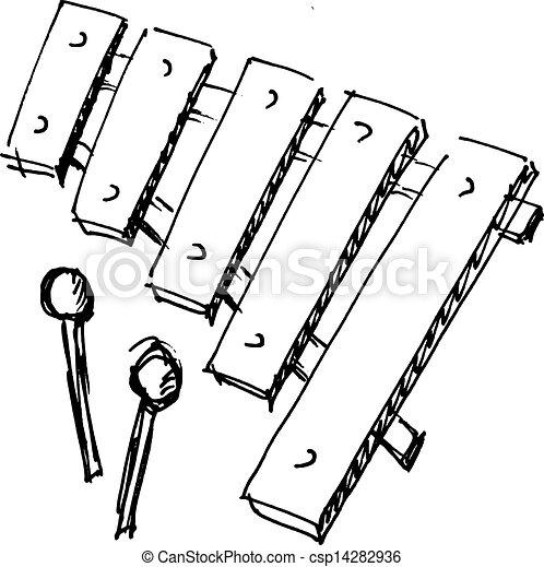 Croquis Xylophone Illustration Main Dessin Anime Dessine