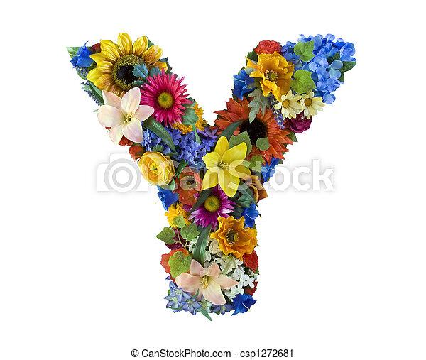 y, alfabeto, flor, - - csp1272681