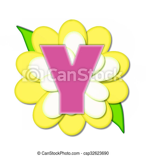 y, alfabeto, flor, alfinete, amarela - csp32623690