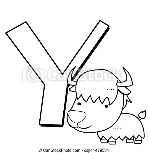 Y, alphabet, färbung, kinder, yak Vektoren - Suche Clipart ...
