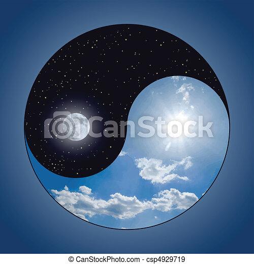 y, yin, -, yang, noche, día - csp4929719