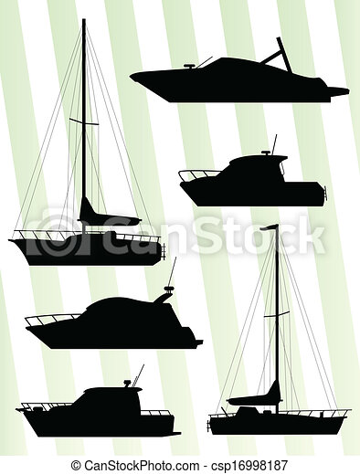 Yacht, boat sailing vector background - csp16998187