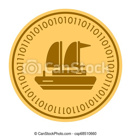 Yacht golden digital coin icon. Vector style is a gold yellow flat coin cryptocurrency symbol. - csp68510660