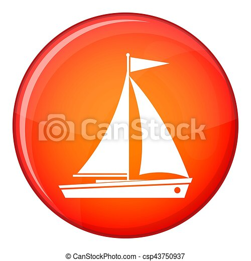Yacht icon, flat style - csp43750937
