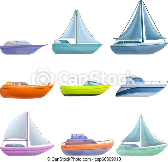 Yacht icons set, cartoon style - csp66309010