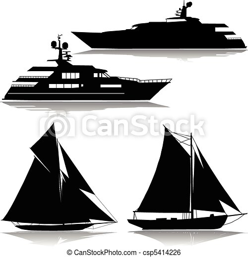 Yacht in the midst of a vector - csp5414226