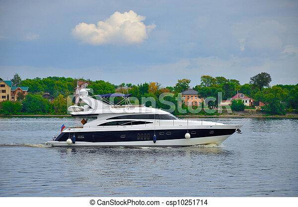 Yacht in Volga river, Yaroslavl, Russia - csp10251714